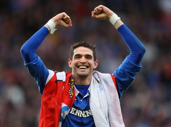 GLASGOW, SCOTLAND - MARCH 20:  Kyle lafferty of Rangers celebrates winning over Celtic during the Co-operative Insurance Cup final between at Hampden Park on March 20, 2011 in Glasgow, Scotland.  (Photo by Julian Finney/Getty Images)