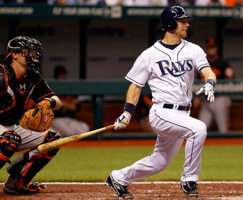 ST. PETERSBURG, FL - APRIL 01:  Infielder Ben Zobrist #18 of the Tampa Bay Rays fouls off a pitch against the Baltimore Orioles during the Opening Day game at Tropicana Field on April 1, 2011 in St. Petersburg, Florida.  (Photo by J. Meric/Getty Images)