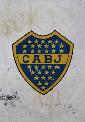 BUENOS AIRES, ARGENTINA - FEBRUARY 11:  Boca Junior's football club logo is seen at La Boca district of Buenos Aires at La Bombonera stadium on February 11, 2008 in Buenos Aires, Argentina.  (Photo by Julian Finney/Getty Images)
