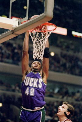 18 Jan 1995:  Forward Vin Baker of the Milwaukee Bucks goes up for two during a game against the Chicago Bulls.  The Bucks won the game, 97-93. Mandatory Credit: Jonathan Daniel  /Allsport