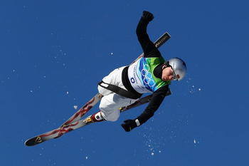 VANCOUVER, BC - FEBRUARY 20:  Assoli Slivets of Belarus competes in the freestyle skiing ladies' aerials qualification on day 9 of the Vancouver 2010 Winter Olympics at Cypress Mountain Resort on February 20, 2010 in Vancouver, Canada.  (Photo by Cameron