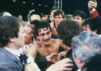 LONDON - JUNE 8 :  Barry McGuigan of Northern Ireland celebrates after beating  WBA Champion Eusebio Pedroza of Panama at Loftus Road Stadium,London on the 8th of June 1985. Barry McGuigan won by a points decision after 15 rounds to become the new WBA Cha
