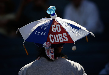 MESA, AZ - MARCH 09:  A fan attends the game between the Chicago Cubs and the Kansas City Royals at HoHoKam Stadium on March 9, 2011 in Mesa, Arizona.  (Photo by Kevork Djansezian/Getty Images)