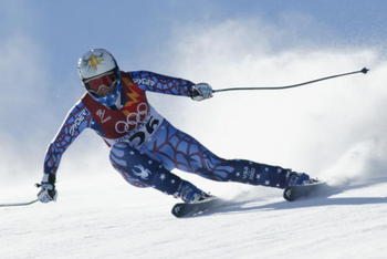 12 Feb 2002:  Picabo Street of the USA competes in the women's downhill final during the Salt Lake City Winter Olympic Games at the Snowbasin ski area in Ogden, Utah. DIGITAL IMAGE. \ Mandatory Credit:   Mike Powell/Getty Images