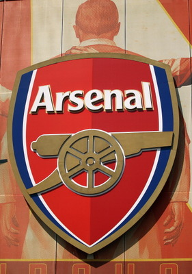 LONDON, ENGLAND - APRIL 11: The crest for Arsenal Football Club is displayed on their Emirates Stadium on April 11, 2011 in London, England. American businessman Stan Kroenke's company 'Kroenke Sports Enterprises' has increased its shareholding in Arsenal