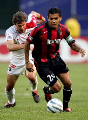 EAST RUTHERFORD, NJ - MAY 31:  Amado Guevara #20 of the Metrostars controls the ball against the Chicago Fire during the game at Giants Stadium on May 31, 2005 in East Rutherford, New Jersey.  (Photo by Nick Laham/Getty Images)