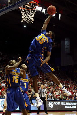 DAYTON, OH - MARCH 20: Kenneth Faried #35 of the Morehead State Eagles drives to the hoop against the Louisville Cardinals during the first round of the NCAA Division I Men's Basketball Tournament at the University of Dayton Arena on March 20, 2009 in Day
