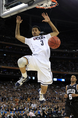HOUSTON, TX - APRIL 04:  Jeremy Lamb #3 of the Connecticut Huskies dunks the ball against the Butler Bulldogs during the National Championship Game of the 2011 NCAA Division I Men's Basketball Tournament at Reliant Stadium on April 4, 2011 in Houston, Tex