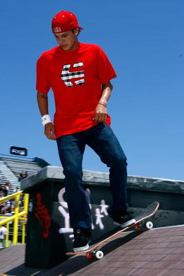CARSON, CA - AUGUST 01:  Ryan Sheckler practices before competing in the Men's Skateboard Street Final during X Games 15 at the Home Depot Center on August 1, 2009 in Carson, California.  (Photo by Jeff Gross/Getty Images)