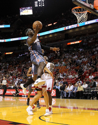 MIAMI, FL - APRIL 08:  Kwame Brown #54 of the Charlotte Bobcats drives to the lane during a game against the Miami Heat at American Airlines Arena on April 8, 2011 in Miami, Florida. NOTE TO USER: User expressly acknowledges and agrees that, by downloadin