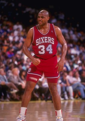 30 Dec 1990: Forward Charles Barkley of the Philadelphia 76ers looks on during a game against the Los Angeles Lakers at the CoreStates Spectrum in Inglewood, California. The Lakers won the game, 115-107.