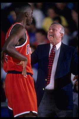 27 Jan 1996:  Head coach Lou Henson of the Illinois Fighting Illini yells at forward Chris Gandy #45 on the sideline during the game against the Northwestern Wildcats at the Welsh-Ryan Arena in Evanston, Illinois. Illinois defeated Northwestern 74-62. Man