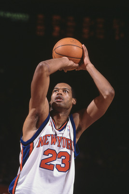 08 Dec 2001:  Forward Marcus Camby #23 of the New York Knicks shoots the ball against the Indiana Pacers during the NBA game at Madison Square Garden in New York, New York.  The Knicks defeated the Pacers 101-99. Mandatory Credit:  Al Bello/Getty Images N