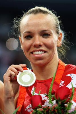 BEIJING - AUGUST 18:  Silver medalist Karen Cockburn of Canada stands on the podium during the medal ceremony for the trampoline gymnastics event at the National Indoor Stadium on Day 10 of the Beijing 2008 Olympic Games on August 18, 2008 in Beijing, Chi