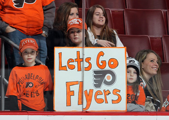 PHILADELPHIA, PA - JANUARY 20:  Fans of the Philadelphia Flyers look on as their team warms up before playing against the Ottawa Senators on January 20, 2011 at Wells Fargo Center in Philadelphia, Pennsylvania.  (Photo by Jim McIsaac/Getty Images)