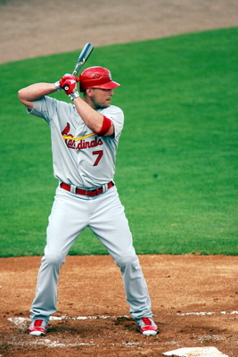 JUPITER, FL - MARCH 01:  Matt Holliday #7 of the St. Louis Cardinals bats against the Florida Marlins at Roger Dean Stadium on March 1, 2011 in Jupiter, Florida.  (Photo by Marc Serota/Getty Images)