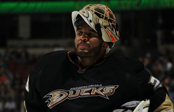 ANAHEIM, CA - MARCH 16:  Goalie Ray Emery #29 of the Anaheim Ducks  skates on the ice in the game withthe St. Louis Blues at Honda Center on March 16, 2011 in Anaheim, California.  Anaheim won 2-1.   (Photo by Stephen Dunn/Getty Images)