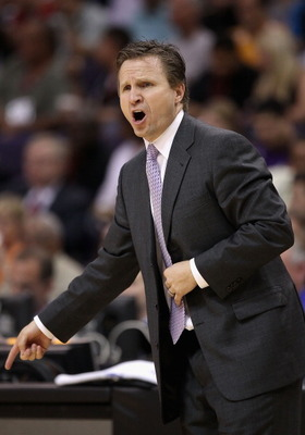 PHOENIX, AZ - MARCH 30:  Head coach Scott Brooks of the Oklahoma City Thunder reacts during the NBA game against the Phoenix Suns at US Airways Center on March 30, 2011 in Phoenix, Arizona. The Thunder defeated the Suns 116-98.   NOTE TO USER: User expres