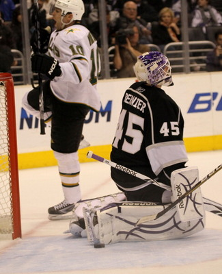 LOS ANGELES, CA - MARCH 7:  Goalie Jonathan Bernier #35 of the Los Angeles Kings reacts after giving up the game winning goal in overtime to Brenden Morrow #10 of the Dallas Stars at Staples Center on March 7, 2011 in Los Angeles, California.  The Stars w