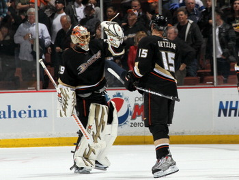 ANAHEIM, CA - MARCH 16:  Goalie Ray Emery #29 and Ryan Getzlaf #15 of the Anaheim Ducks celebrate after the game with the St. Louis Blues at Honda Center on March 16, 2011 in Anaheim, California.  Anaheim won 2-1.  (Photo by Stephen Dunn/Getty Images)