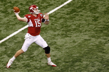 NEW ORLEANS, LA - JANUARY 04:  Ryan Mallett #15 of the Arkansas Razorbacks looks to pass in the first half against the Ohio State Buckeyes during the Allstate Sugar Bowl at the Louisiana Superdome on January 4, 2011 in New Orleans, Louisiana.  (Photo by C