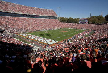 CLEMSON, SC - NOVEMBER 12:  Fans fill 'Death Valley' to watch a game between the Clemson Tigers and the Florida State Seminoles on November 12, 2005 at Clemson Memorial Stadium in Clemson, South Carolina.  (Photo by Grant Halverson/Getty Images)