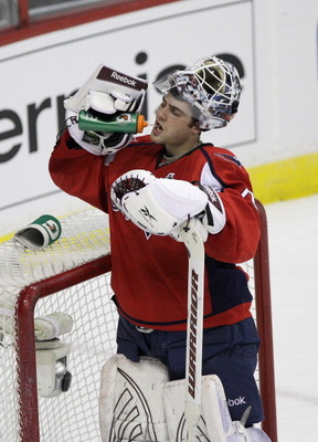 WASHINGTON, DC - MARCH 13:  Goalie Braden Holtby #70 of the Washington Capitals stands on the ice against the Chicago Blackhawks at the Verizon Center on March 13, 2011 in Washington, DC.  (Photo by Rob Carr/Getty Images)