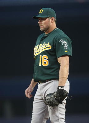 NEW YORK - APRIL 21:  Jason Giambi #16 of the Oakland Athletics in the field against the New York Yankees on April 21, 2009 at Yankee Stadium in the Bronx borough of New York City.  (Photo by Nick Laham/Getty Images)