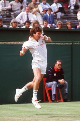 JUN 1984:  A PICTURE SHOWING JIMMY CONNORS OF THE UNITED STATES IN ACTION AT THE QUEENS CLUB IN LONDON Mandatory Credit: Adrian Murrell/ALLSPORT