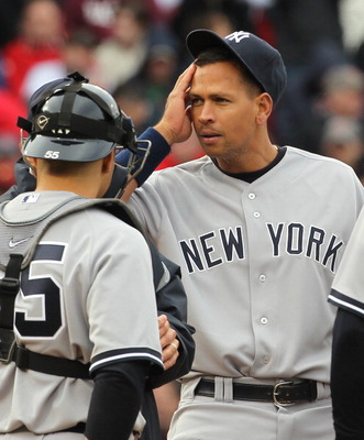 BOSTON - APRIL 8:  Alex Rodriguez #13 of  the New York Yankees reacts on the mound during a pitching change against the Boston Red Sox during Opening Day at Fenway Park on April 8, 2011 in Boston, Massachusetts. (Photo by Jim Rogash/Getty Images)