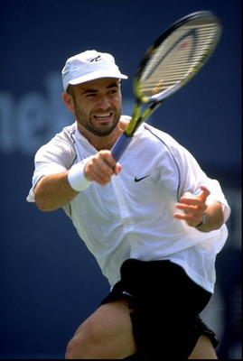 3 Sep 1998:  Andre Agassi of the USA in action during the US Open at Flushing Meadow in New York. \ Mandatory Credit: Al Bello /Allsport