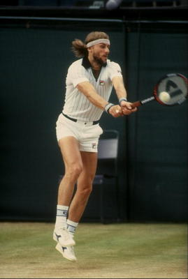 Jul 1981:  Bjorn Borg of Sweden returns a volley during his match against John McEnroe in the finals of the 1981 Lawn Tennis Championships at the All-England Club in Wimbledon, England.  Borg lost the match 4-6, 7-6, 7-6, 6-4. Mandatory Credit: Tony Duffy