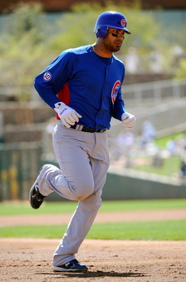 GLENDALE, AZ - MARCH 11:  Carlos Pena #22 of the Chicago Cubs plays against Chicago White Sox during the spring training baseball gameat Camelback Ranch on March 11, 2011 in Glendale, Arizona.  (Photo by Kevork Djansezian/Getty Images)