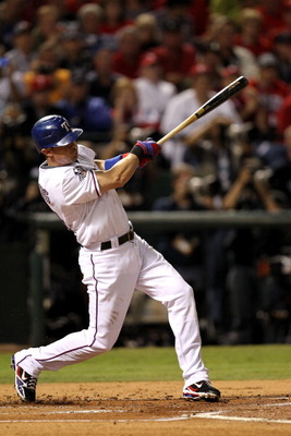 ARLINGTON, TX - NOVEMBER 01:  Michael Young #10 of the Texas Rangers bats against the San Francisco Giants in Game Five of the 2010 MLB World Series at Rangers Ballpark in Arlington on November 1, 2010 in Arlington, Texas. The Giants won 3-1.  (Photo by R