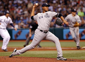 ST. PETERSBURG, FL - SEPTEMBER 14:  Pitcher Ivan Nova #47 of the New York Yankees pitches against the Tampa Bay Rays during the game at Tropicana Field on September 14, 2010 in St. Petersburg, Florida.  (Photo by J. Meric/Getty Images)