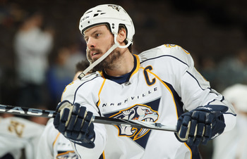 DENVER, CO - MARCH 31:  Shea Weber #6 of the Nashville Predators warms up prior to facing the Colorado Avalanche at the Pepsi Center on March 31, 2011 in Denver, Colorado. Rinne had 27 saves as the Nashville Predators defeated the Colorado Avalanche 3-2.