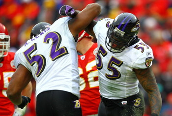 KANSAS CITY, MO - JANUARY 09:  Linebackers Ray Lewis #52 and Terrell Suggs #55 of the Baltimore Ravens celebrate a play during their 2011 AFC wild card playoff game against the Kansas City Chiefs at Arrowhead Stadium on January 9, 2011 in Kansas City, Mis
