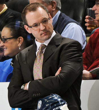 PITTSBURGH, PA - JANUARY 08:  Head Coach Dan Bylsma of the Pittsburgh Penguins watches his team play the Minnesota Wild on January 8, 2011 at CONSOL Energy Center in Pittsburgh, Pennsylvania.  (Photo by Jamie Sabau/Getty Images)