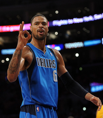 LOS ANGELES, CA - MARCH 31:  Tyson Chandler #6 of the Dallas Mavericks calls for a foul on the Los Angeles Lakers at Staples Center on March 31, 2011 in Los Angeles, California.  NOTE TO USER: User expressly acknowledges and agrees that, by downloading an