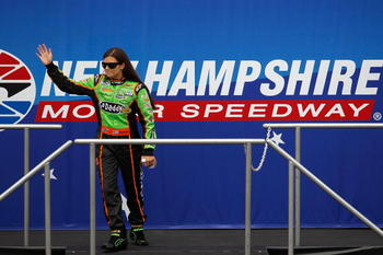 LOUDON, NH - JUNE 26:  Danica Patrick, driver of the #7 GoDaddy.com Chevrolet, waves to the crowd during driver introductions prior to the start of the NASCAR Nationwide Series New England 200 at New Hampshire Motor Speedway on June 26, 2010 in Loudon, Ne
