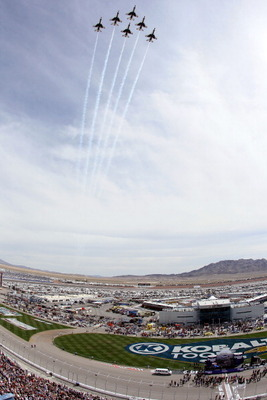 LAS VEGAS, NV - MARCH 06:  The US Air Force Thunderbirds perform a flyover during the national anthem before the NASCAR Sprint Cup Series Kobalt Tools 400 at Las Vegas Motor Speedway on March 6, 2011 in Las Vegas, Nevada.  (Photo by Jeff Gross/Getty Image