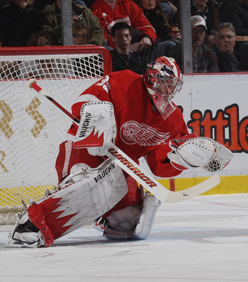DETROIT, MI - DECEMBER 08:  Jimmy Howard #35 of the Detroit Red Wings skates against the Nashville Predators at the Joe Louis Arena on December 8, 2010 in Detroit, Michigan. The Predators defeated the Red Wings 3-2.  (Photo by Bruce Bennett/Getty Images)