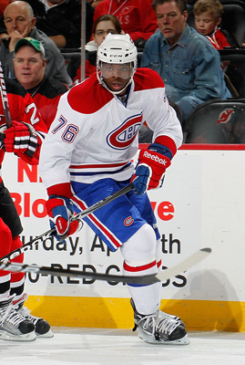 NEWARK, NJ - APRIL 02:  P.K. Subban #76 of the Montreal Canadians skates during an NHL hockey game against the New Jersey Devils at the Prudential Center on April 2, 2011 in Newark, New Jersey.  (Photo by Paul Bereswill/Getty Images)