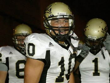 LOS ANGELES - SEPTEMBER 1:  Idaho safety Shiloh Keo is fired up before taking the field against USC at the Los Angeles Memorial Coliseum on September 1, 2007 in Los Angeles, California. The Vandals were defeated by the top-ranked Trojans won 38-10. (Photo