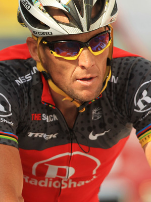 JEAN DE MAURIENNE, FRANCE - JULY 13: Lance Armstrong of team RadioShack crosses the finish following the end of stage nine of the Tour de France on July 13, 2010 in Jean De Maurienne, France. Armstrong is now in 31st place, ending any hope of winning anot