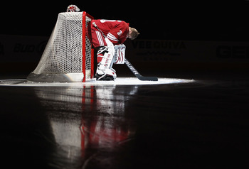 GLENDALE, AZ - APRIL 01:  Goaltender Ilya Bryzgalov #30 of the Phoenix Coyotes is introduced before the NHL game against the Colorado Avalanche at Jobing.com Arena on April 1, 2011 in Glendale, Arizona.  (Photo by Christian Petersen/Getty Images)