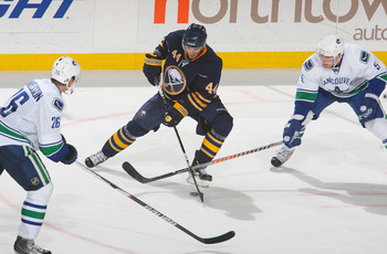 BUFFALO, NY - NOVEMBER 15:  Andrej Sekera #44 of the Buffalo Sabres skates against Mikael Samuelsson #26 and Christian Ehrhoff #5  of the Vancouver Canucks at HSBC Arena on November 15, 2010 in Buffalo, New York. Buffalo won 4-3 in overtime.  (Photo by Ri