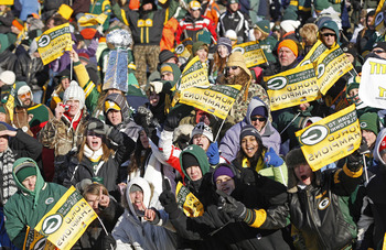 GREEN BAY, WI - FEBRUARY 08: Green Bay Packers fans gather at Lambeau Field for the Packers victory ceremony on February 8, 2011 in Green Bay, Wisconsin.  (Photo by Matt Ludtke/Getty Images)