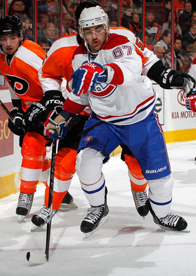 PHILADELPHIA, PA - JANUARY 25:  Max Pacioretty #67 of the Montreal Canadiens skates in an NHL hockey game against the Philadelphia Flyers at the Wells Fargo Center on January 25, 2011 in Philadelphia, Pennsylvania.  (Photo by Paul Bereswill/Getty Images)
