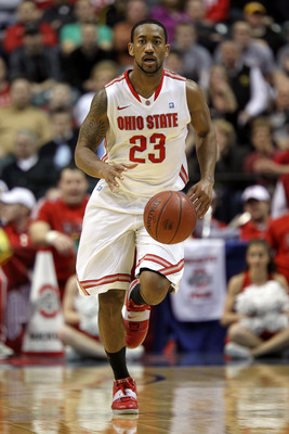 INDIANAPOLIS, IN - MARCH 12:  David Lighty #23 of the Ohio State Buckeyes brings the ball up court against the Michigan Wolverines during the semifinals of the 2011 Big Ten Men's Basketball Tournament at Conseco Fieldhouse on March 12, 2011 in Indianapoli
